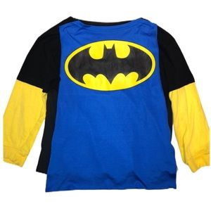 Batman Graphic Logo Tee With Blue Cape M